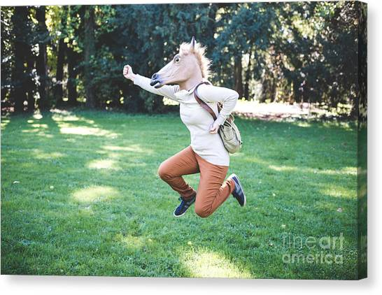 Woodland Canvas Print - Young Hipster Horse Mask Woman In The by Eugenio Marongiu