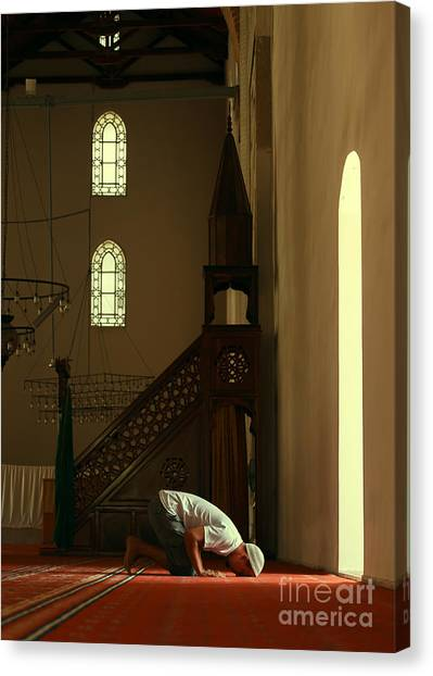 Worship Canvas Print - Young Muslim Man Praying In Mosque By by Saida Shigapova