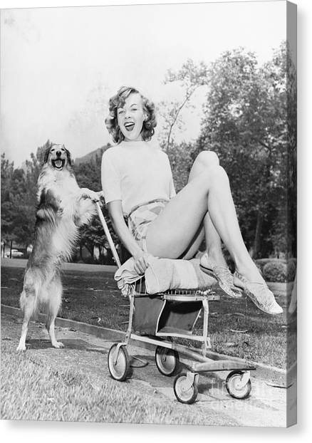 Old Train Canvas Print - Young Woman And Her Pushy Pet Dog by Everett Collection