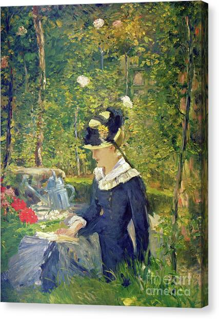Jardin Canvas Print - Young Woman At The Entrance Of The Bellevue Garden  Marguerite by Edouard Manet