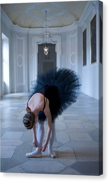 Buns Canvas Print - Young Woman Ballerina Adjusting Her by Kathrin Ziegler