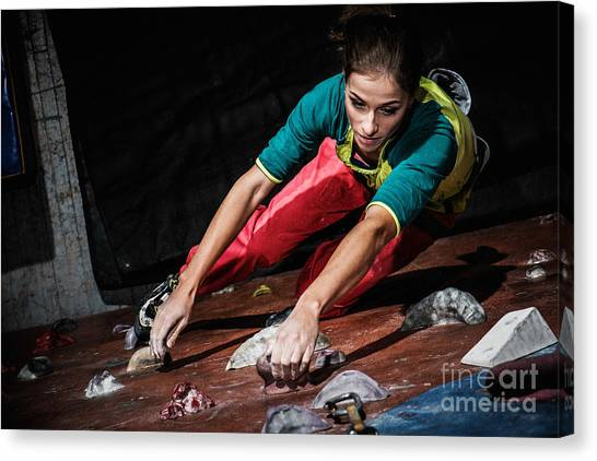 Mountain Climbing Canvas Print - Young Woman Practicing Rock-climbing On by Nejron Photo