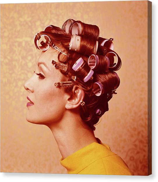 Young Woman Wearing Curlers, Profile Canvas Print