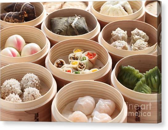 China Canvas Print - Yumcha, Dim Sum In Bamboo Steamer by Bonchan