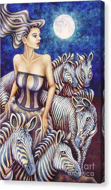 Zebra Moon Canvas Print