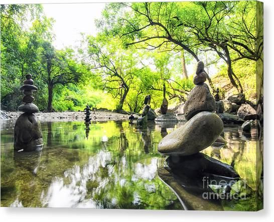Japanese Gardens Canvas Print - Zen Pond In Forest. Photography Of by Banana Republic Images