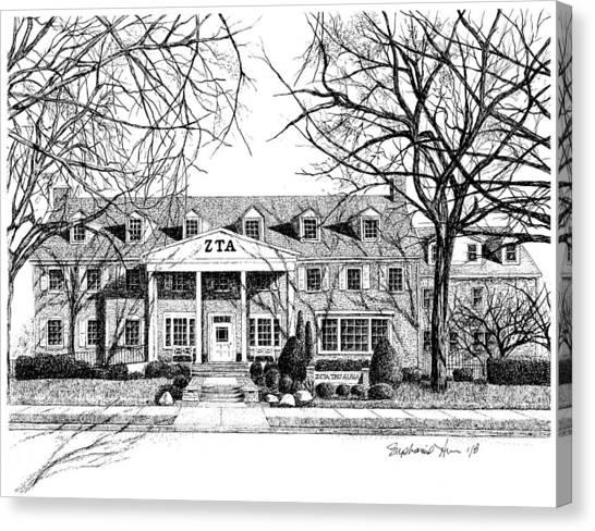 Zeta Tau Alpha Canvas Print - Zeta Tau Alpha Sorority House, Purdue University, West Lafayette, Indiana, Fine Art Print by Stephanie Huber