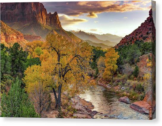 Zion National Park Autumn Canvas Print by Leland D Howard