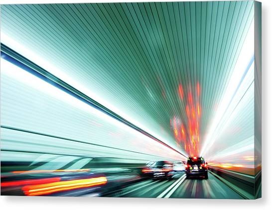 Zipping Through The Holland Tunnel Canvas Print by Tanja-tiziana, Doublecrossed Photography