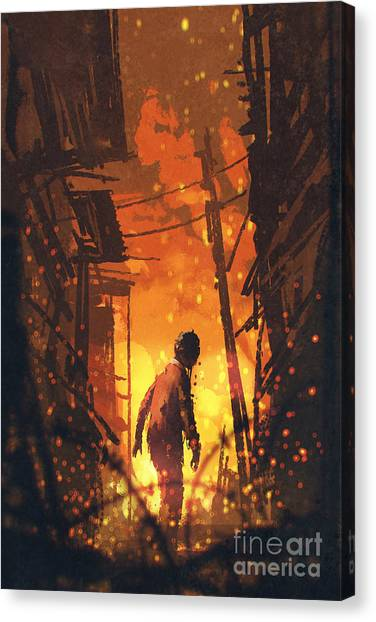 Acrylic Canvas Print - Zombie Looking Back With Burning City by Tithi Luadthong