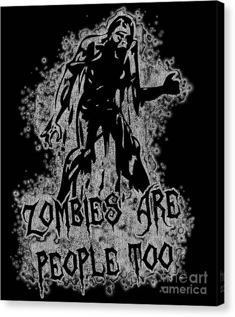 Zombies Are People Too Halloween Vintage Canvas Print