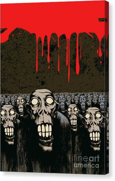 Cemetery Canvas Print - Zombies, Current Blood And Grunge by Jumpingsack