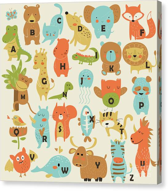 Yak Canvas Print - Zoo Alphabet With Cute Animals In by Kaliaha Volha