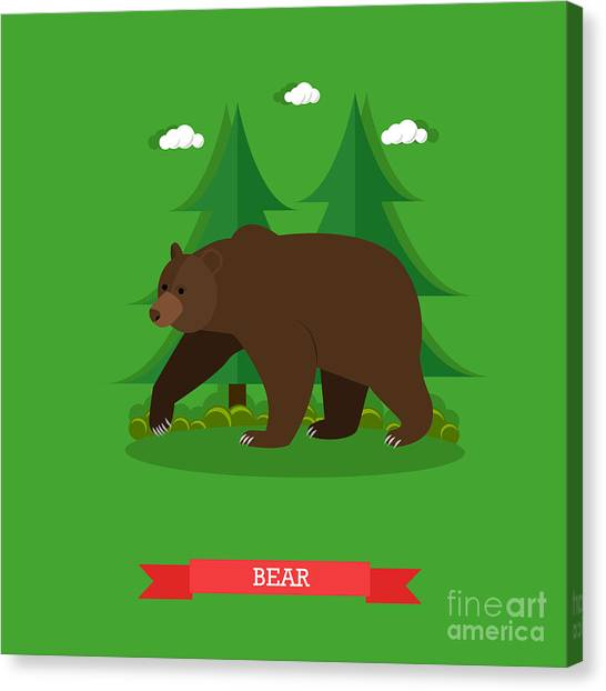 Zoology Canvas Print - Zoo Concept Banner. Wildlife Bear by Skypics Studio