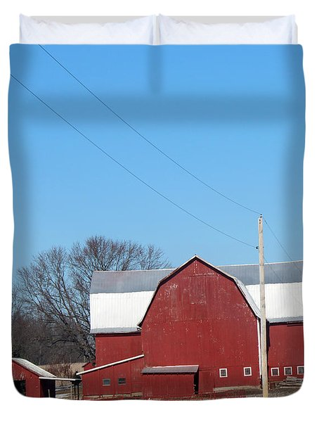 Large Red Barn Duvet Cover