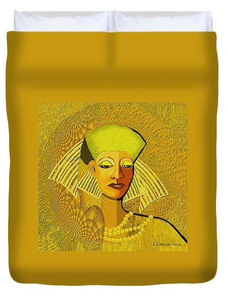 189 Metallic Woman Golden Pearls Duvet Cover