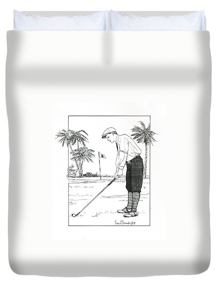 Duvet Cover featuring the drawing  1920's Vintage Golfer by Ira Shander