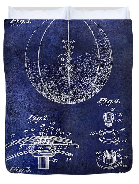 1927 Basketball Patent Drawing Blue Duvet Cover