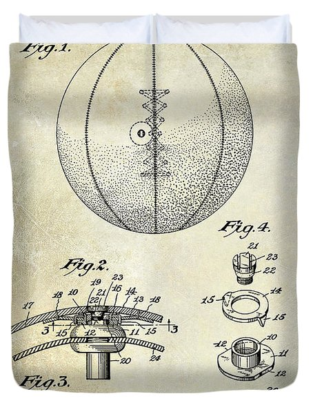 1927 Basketball Patent Drawing Duvet Cover