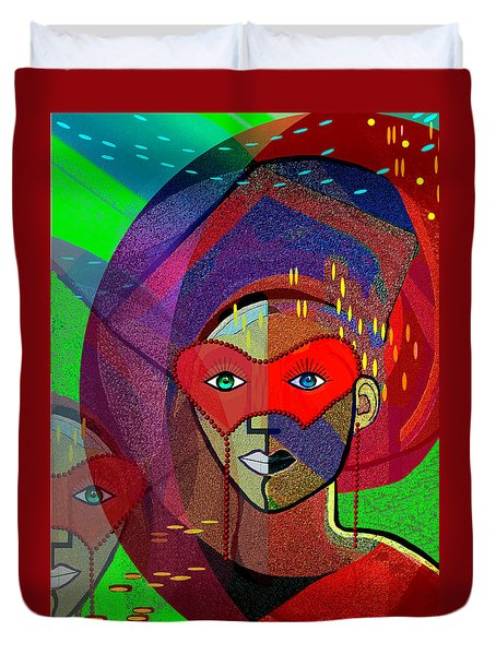 394 - Challenging Woman With Mask Duvet Cover
