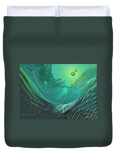 577 -  Ocean World Crystal Green.. Duvet Cover by Irmgard Schoendorf Welch