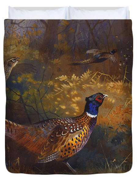 A Cock And Hen Pheasant At The Edge Of A Wood Duvet Cover by Archibald Thorburn