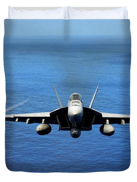 Duvet Cover featuring the photograph  A Fa-18 Hornet Demonstrates Air Power. by Paul Fearn
