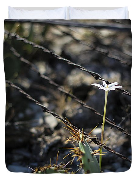 Duvet Cover featuring the photograph  A Flower Among Thorns by Amber Kresge