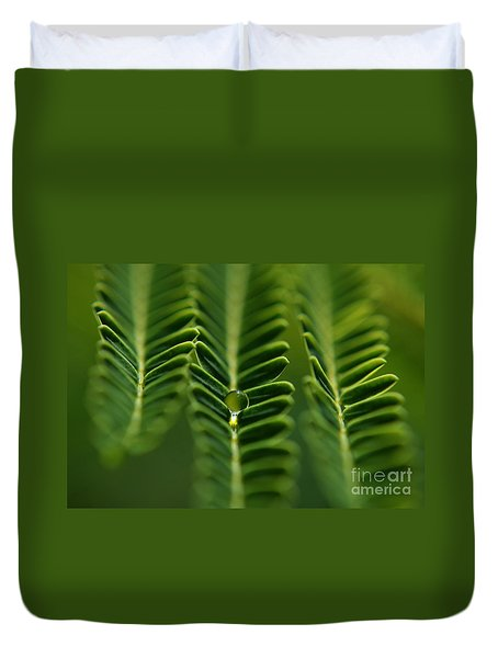 Duvet Cover featuring the photograph  A Green Drop by Michelle Meenawong
