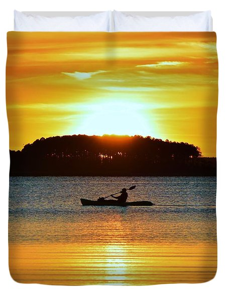A Reason To Kayak - Summer Sunset Duvet Cover