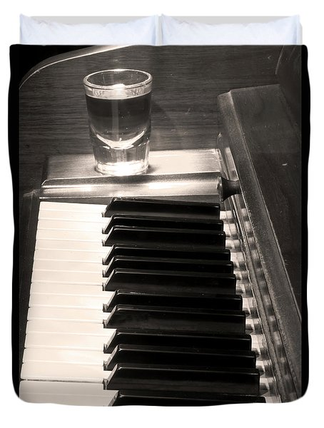 A Shot Of Bourbon Whiskey And The Bw Piano Ivory Keys In Sepia Duvet Cover