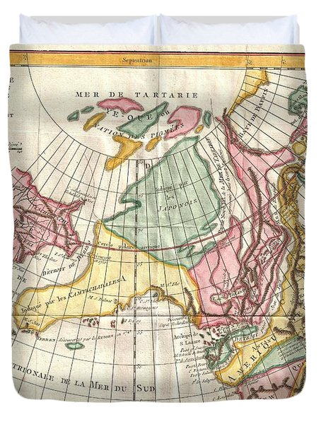 A Truly Fascinating 1772 Map Of The Northwestern Parts Of North America By Robert De Vaugondy And T Duvet Cover