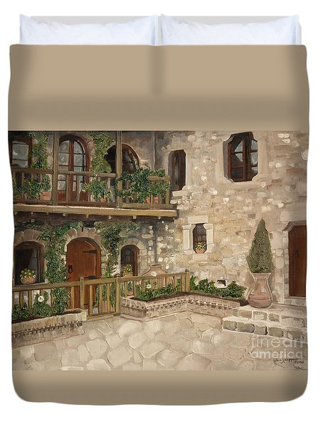 Greek Courtyard - Agiou Stefanou Monastery -balcony Duvet Cover