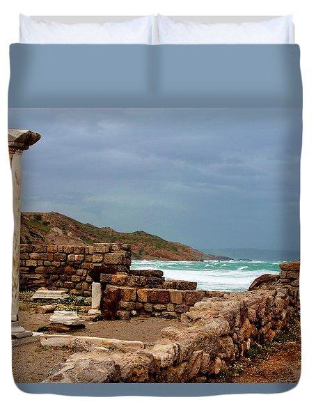 Ancient Ruins In Kefalos Kos Duvet Cover