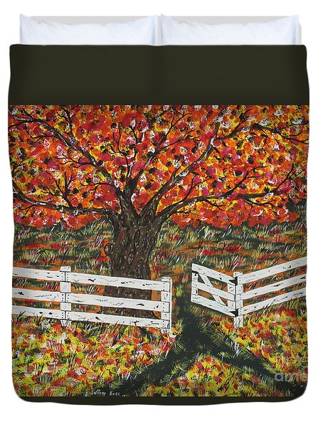 Autumn At The White Fence Farm Duvet Cover by Jeffrey Koss