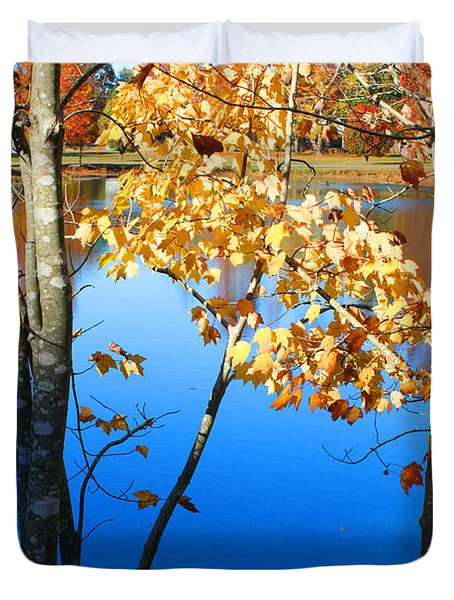 Autumn Trees On The Lake Duvet Cover