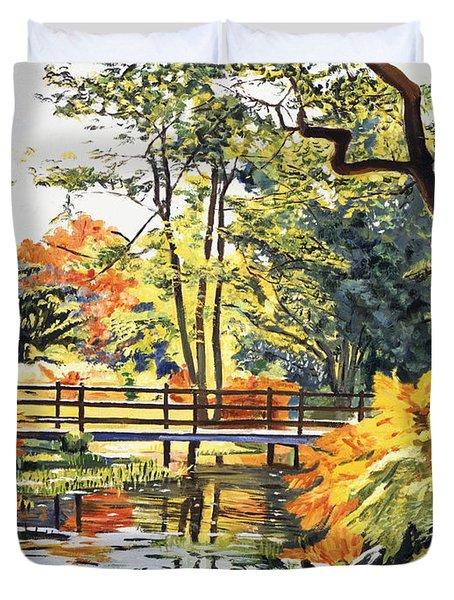 Autumn Water Bridge Duvet Cover