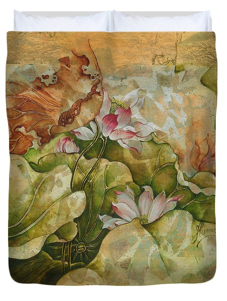 Duvet Cover featuring the painting Goodnight Fairytale by Anna Ewa Miarczynska