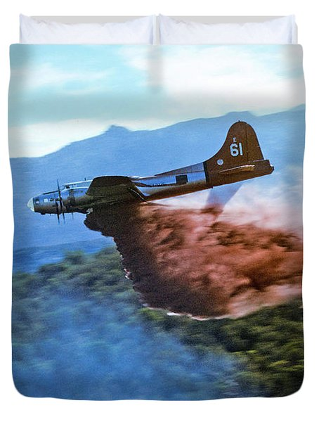 B-17 Air Tanker Dropping Fire Retardant Duvet Cover by Bill Gabbert