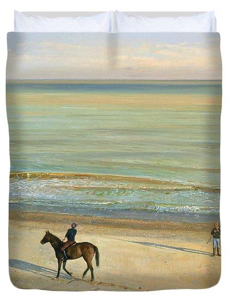 Beach Dialogue Dunwich Duvet Cover by Timothy  Easton