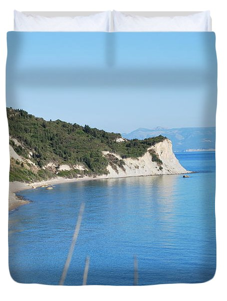 Duvet Cover featuring the photograph  Beach by George Katechis