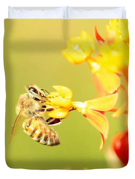 Duvet Cover featuring the photograph  Bee On Milkweed by Greg Allore