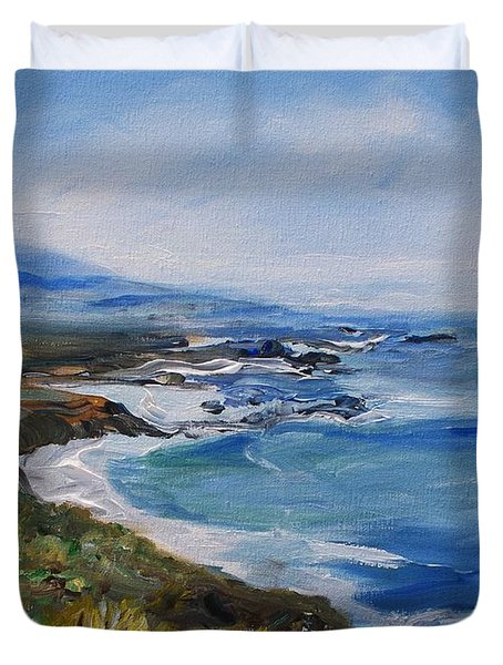 Duvet Cover featuring the painting  Big Sur Coastline by Eric  Schiabor