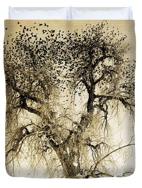 Bird Tree Fine Art  Mono Tone And Textured Duvet Cover