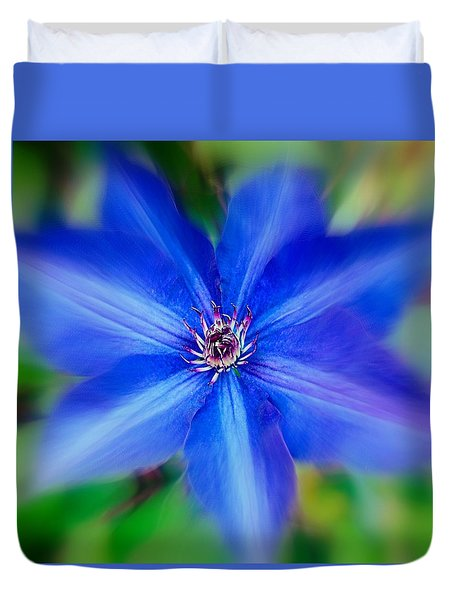 Duvet Cover featuring the photograph  Blue Clematis by Nick Kloepping