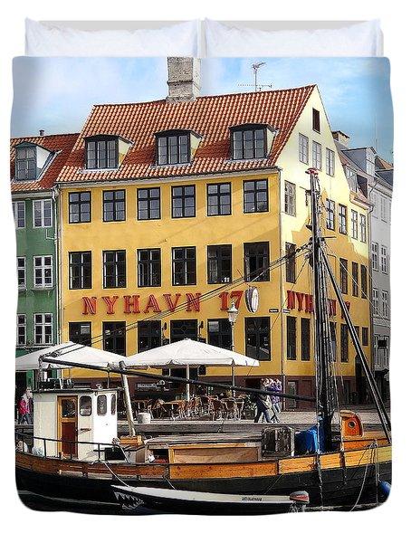 Boat In Nyhavn Duvet Cover by Richard Rosenshein
