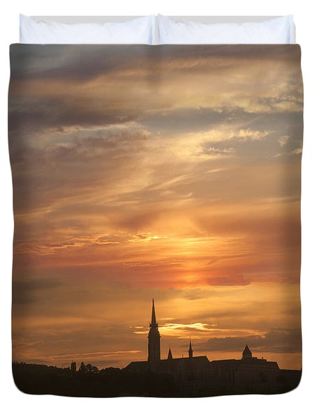 Budapest's Fiery Skies Duvet Cover