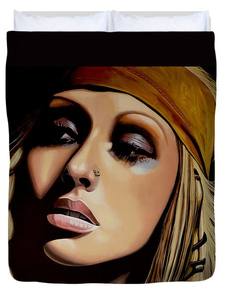 Christina Aguilera Painting Duvet Cover by Paul Meijering