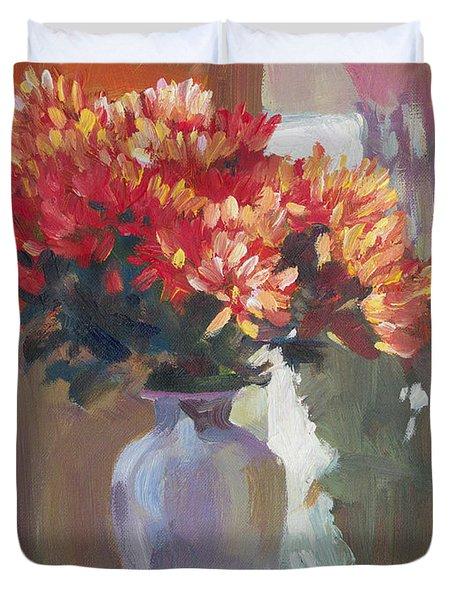 Chrysanthemums In Vase Duvet Cover