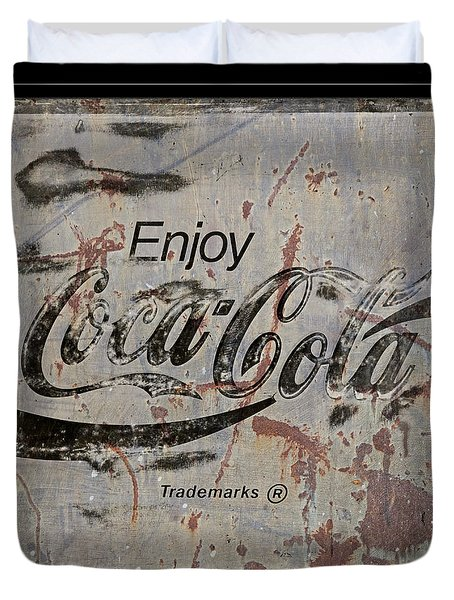 Coca Cola Sign Grungy Retro Style Duvet Cover by John Stephens
